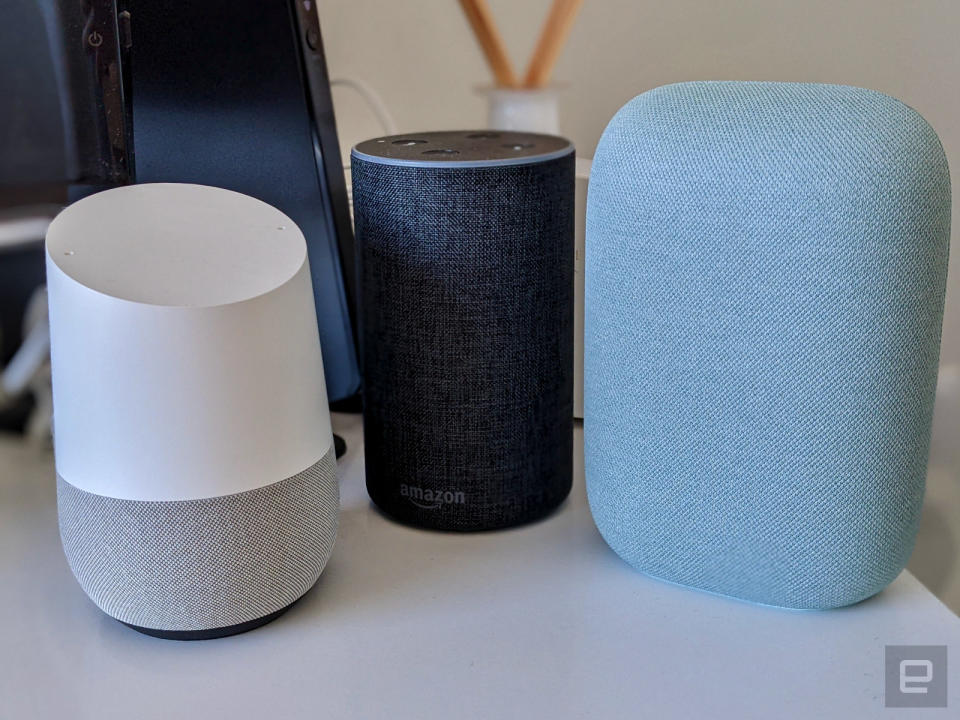 Google Home, Amazon Echo and Nest Audio