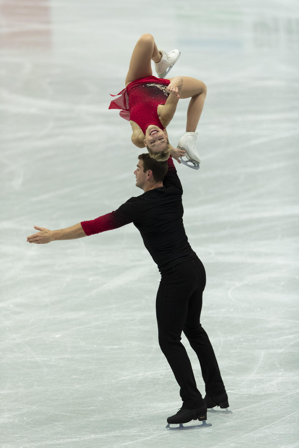USA's Alexa Knierim and Brandon Frazier perform during the pairs' short program of the ISU World Team Trophy figure skating competition in Osaka, western Japan, Friday, April 16, 2021. (AP Photo/Hiro Komae)