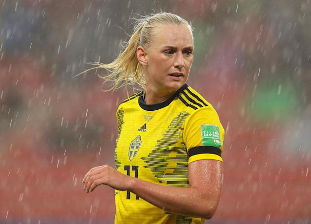 Stina Blackstenius of Sweden looks on during the 2019 FIFA Women's World Cup France group F match between Chile and Sweden at Roazhon Park on June 11, 2019 in Rennes, France. (Photo by Richard Heathcote/Getty Images)