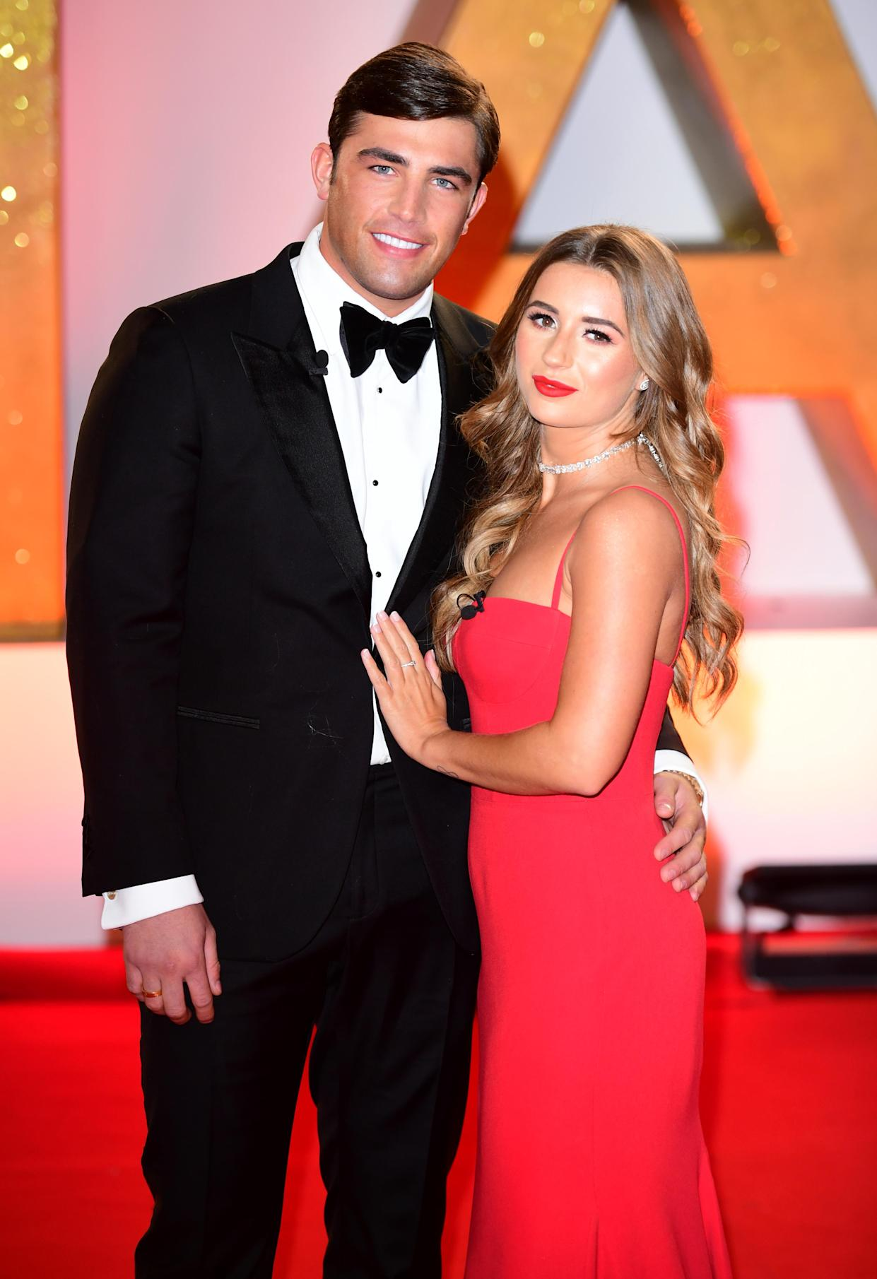 Jack Fincham and Dani Dyer attending the National Television Awards 2019 held at the O2 Arena, London. (Photo by Ian West/PA Images via Getty Images)