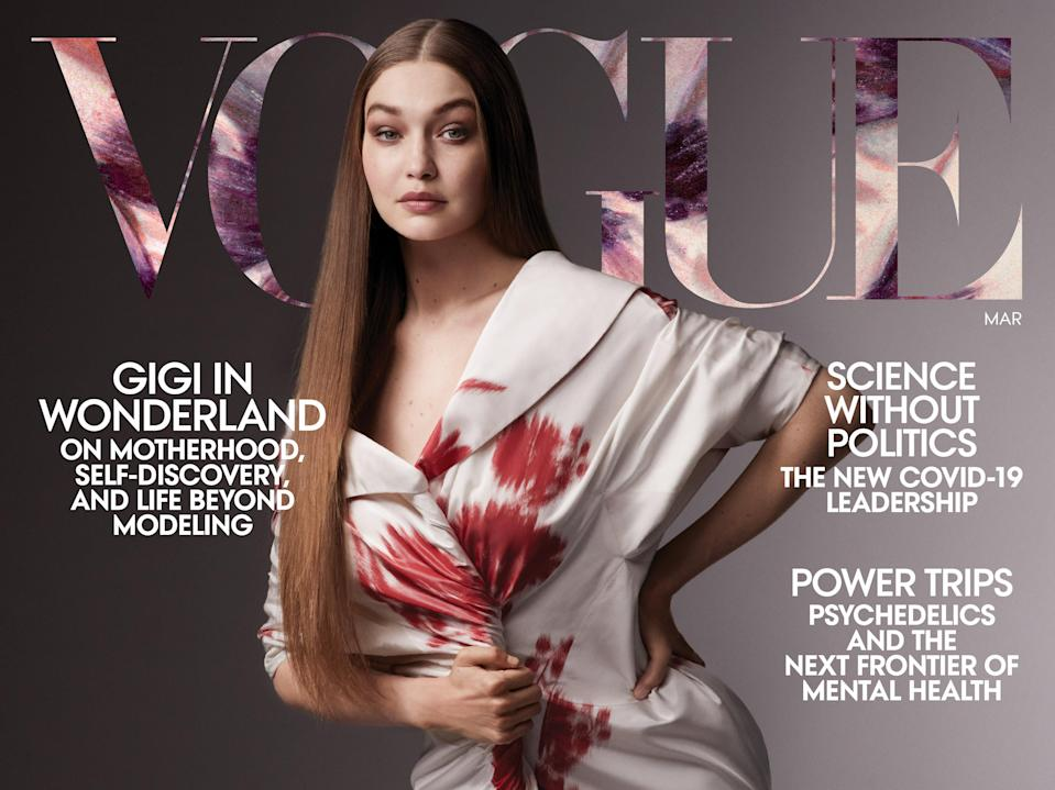 <p>Portada de Gigi Hadid Vogue</p> (Ethan James Green//Vogue)