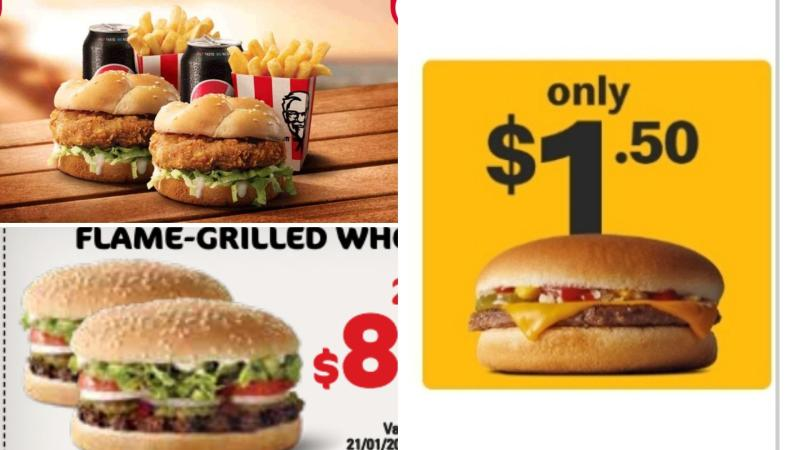 Burgers on special at KFC, McDonald's and Hungry Jacks.