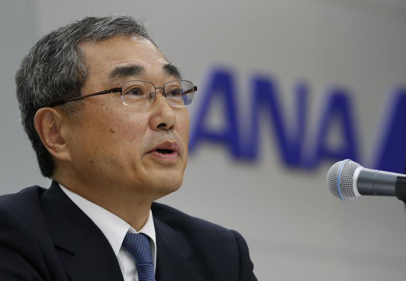 ANA Chairman Shinichiro Ito speaks during a press conference after the airline completed a test flight of a Boeing 787 Dreamliner in Tokyo, Sunday, April 28, 2013. Japanese carrier All Nippon Airways (ANA) conducted its first test flight of the Boeing 787 Dreamliner on Sunday since planes were grounded in mid-January after incidents with smoldering batteries occurred aboard two different planes, leading to hundreds of canceled flights and revenue losses. (AP Photo/Shizuo Kambayashi)