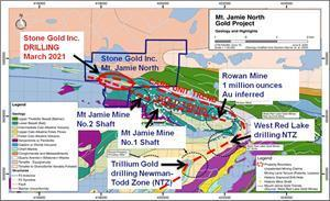 """Regional Geological Map showing the """"Gold Trend"""" and the """"Carb Unit Trend""""."""