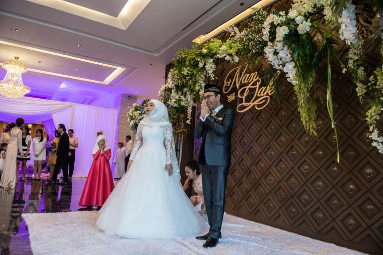 The wedding ceremony is one of dozens of marriages held over the last few months at the Al Meroz - Bangkok's first entirely halal hotel