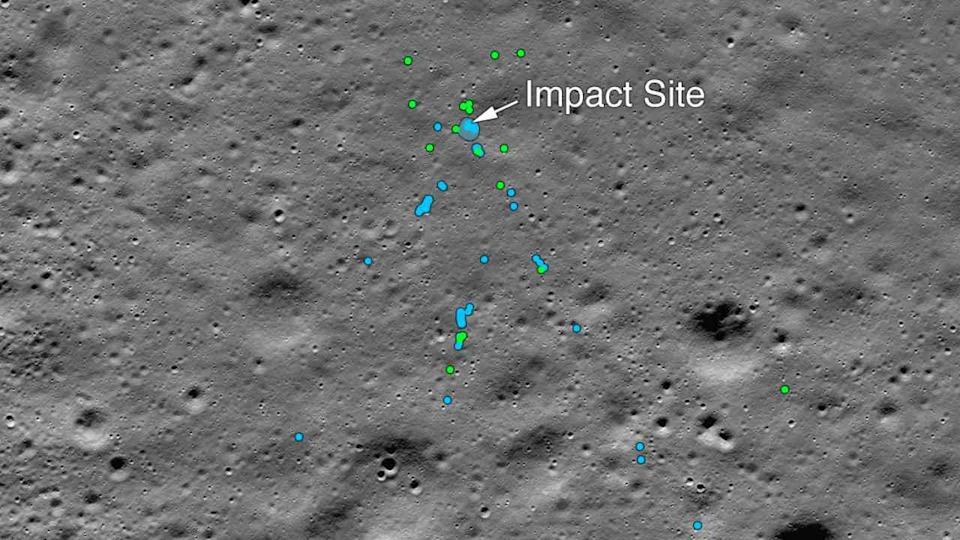 Vikram's ejecta as seen be LRO's camera. Image: NASA