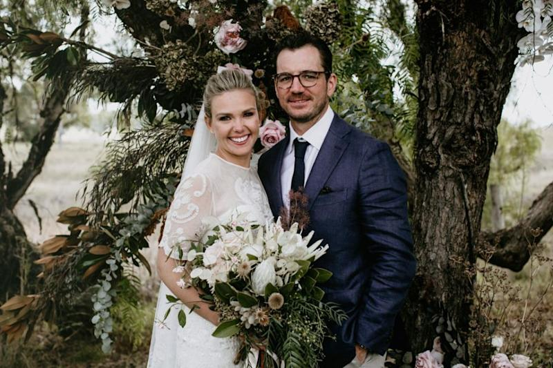 Edwina Bartholomew has married Neil Varcoe in a beautiful home wedding. Photo: Edwina Robertson