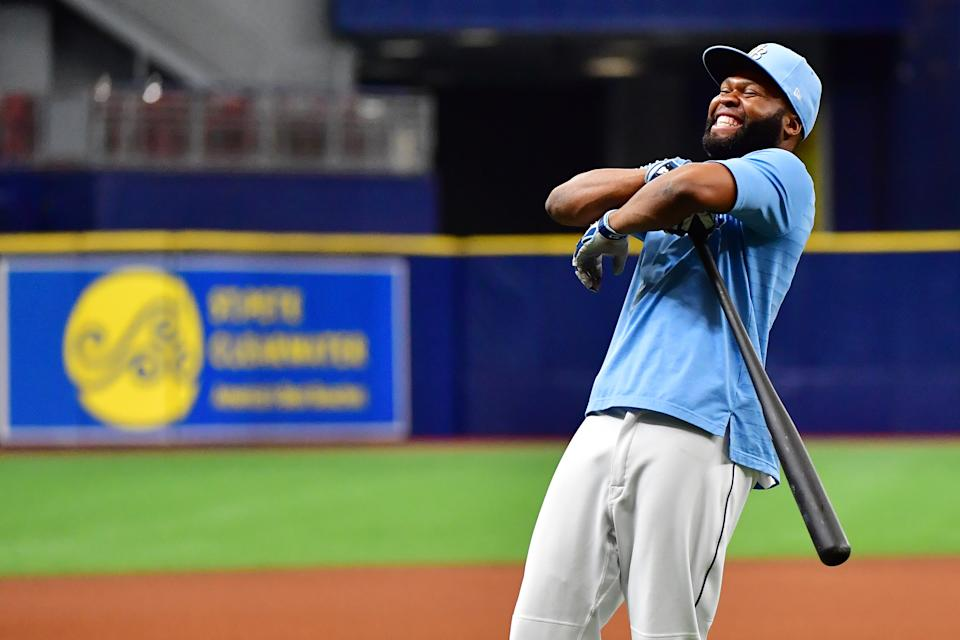 ST PETERSBURG, FLORIDA - JUNE 22: Manuel Margot #13 of the Tampa Bay Rays reacts during batting practice before a game against the Boston Red Sox at Tropicana Field on June 22, 2021 in St Petersburg, Florida. (Photo by Julio Aguilar/Getty Images)
