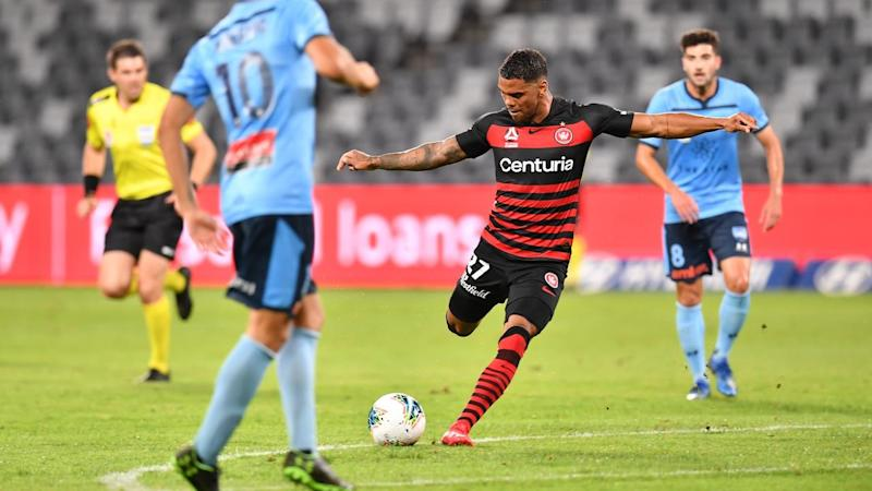 Kwame Yeboah (c) has salvaged a 1-1 draw for Western Sydney in their A-League derby with Sydney FC