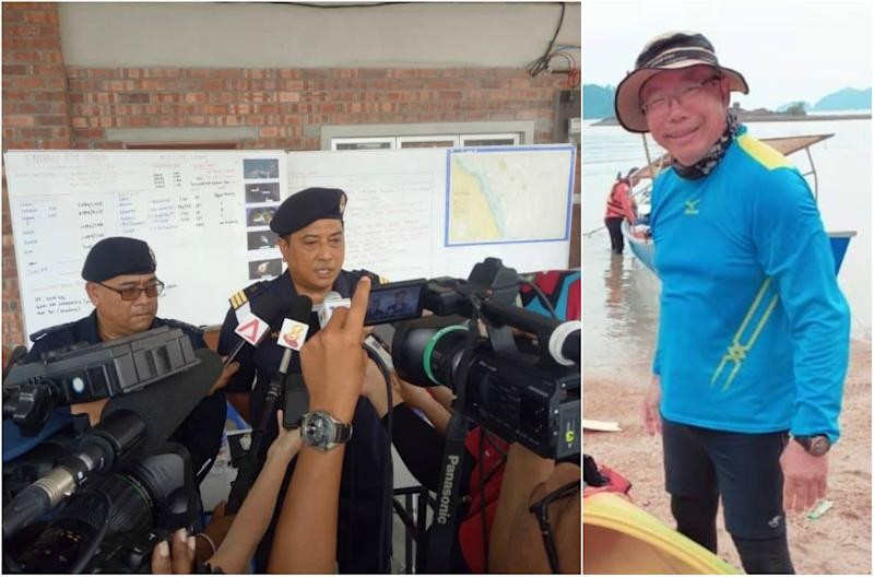 The MMEA addressing media at a press conference on 15 August, 2019, (left) and the missing Tan Eng Soon, 62. (PHOTOS: MMEA, Louis Pang/Instagram)