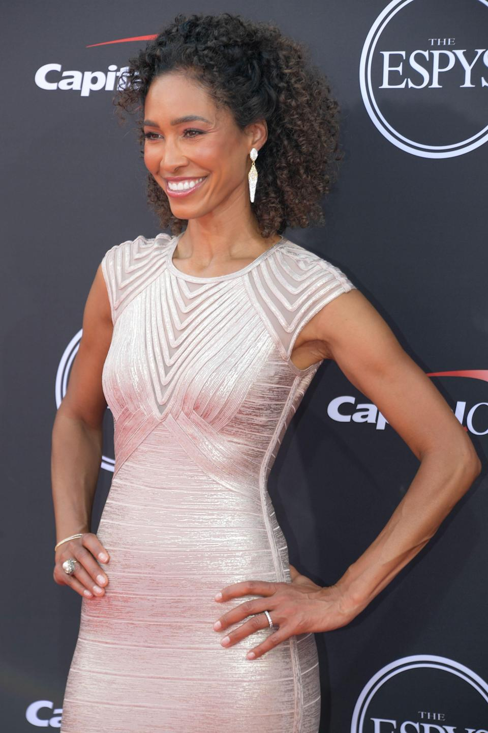 Television personality Sage Steele arrives for the 2018 ESPYS.