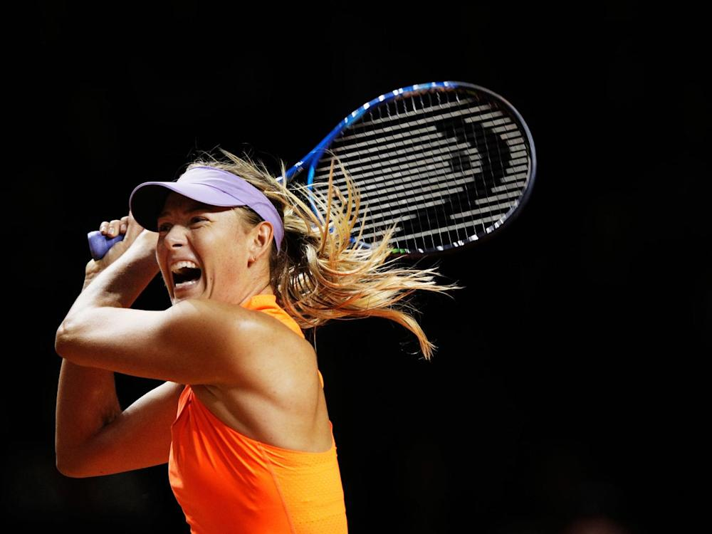 Sharapova plays a shot against Vinci in the second set (Getty)