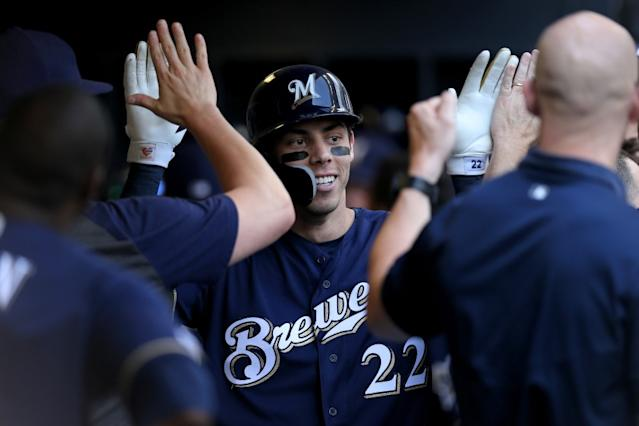 "Milwaukee Brewers slugger Christian Yelich has plenty of performance bonus clauses in his contract extension. <span class=""copyright"">(Dylan Buell / Getty Images)</span>"