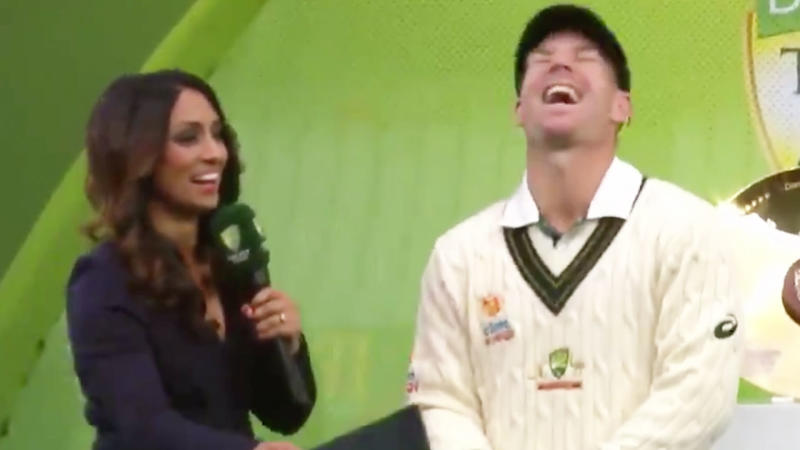 David Warner and Isa Guha laugh during an interview after the batsman won man of the series. (Image: Fox Sports)