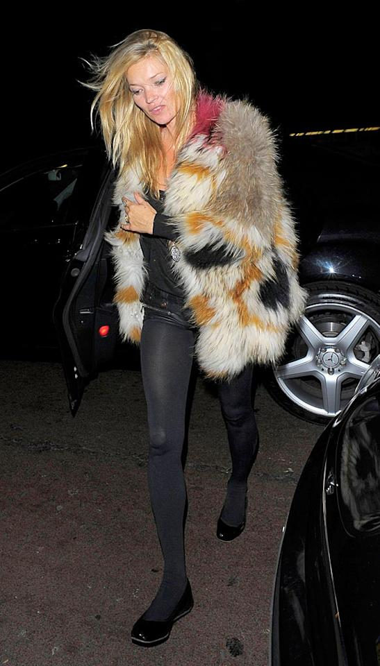 """How many Muppets do you think Kate Moss had to kill in order to construct her hideous coat? Our guess ... at least 3. There's definitely some Animal, Swedish Chef, and Fozzie Bear up in there. Optic Photos/<a href=""""http://www.pacificcoastnews.com/"""" target=""""new"""">PacificCoastNews.com</a> - September 22, 2010"""