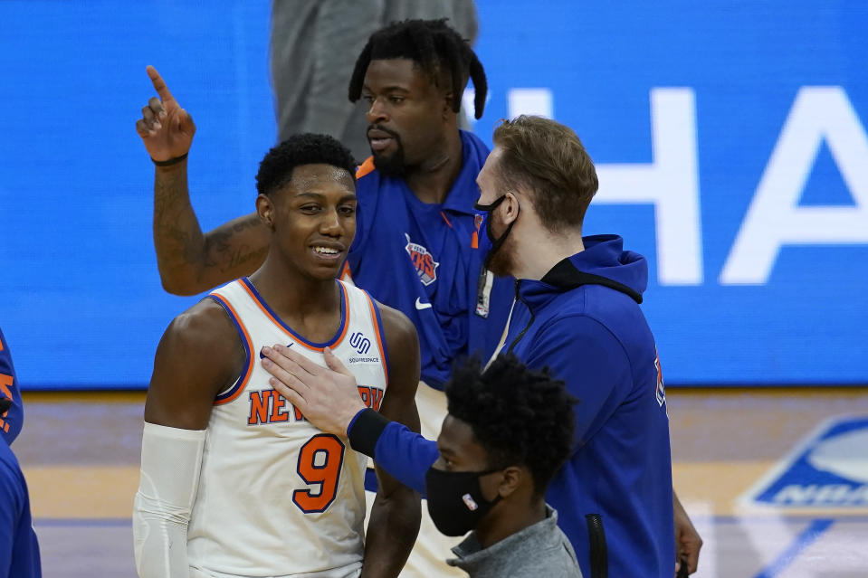 New York Knicks guard RJ Barrett (9) celebrates with teammates after the Knicks defeated the Golden State Warriors in an NBA basketball game in San Francisco, Thursday, Jan. 21, 2021. (AP Photo/Jeff Chiu)