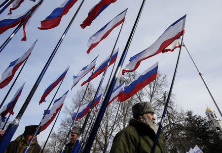 Members of pro-Russian self-defence units hold Russian and Crimean flags during a meeting to celebrate the first anniversary of Russia's annexation of Ukraine's Black Sea peninsula of Crimea, in central Simferopol March 16, 2015.  REUTERS/Maxim Shemetov