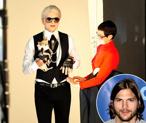 Ashton Kutcher Transforms Into Karl Lagerfeld, Other Eligible Bachelors for Popchips Ad