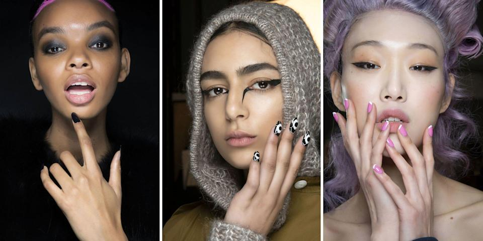 <p>Going to the nail salon isn't an option for everyone in the age of COVID-19. And even if it is, some of us feel more comfortable doing our own nails from now on. So what's a nail art lover to do? Ahead, we rounded up the best fall 2020 nail trends—from the runways to Instagram—that you can totally DIY. All you need is a few key nail polishes and a little imagination (okay, and some polish remover too) to create these must-have nail looks for the fall.</p>