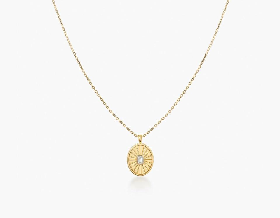 """<br><br><strong>Vrai</strong> Inner Light Created Diamond Medallion, $, available at <a href=""""https://go.skimresources.com/?id=30283X879131&url=https%3A%2F%2Fwww.vrai.com%2Fjewelry%2Fnecklaces%2Finner-light-medallion"""" rel=""""nofollow noopener"""" target=""""_blank"""" data-ylk=""""slk:Vrai"""" class=""""link rapid-noclick-resp"""">Vrai</a>"""