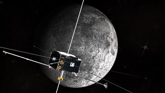 An artist's concept of the ARTEMIS spacecraft in orbit around the Moon.