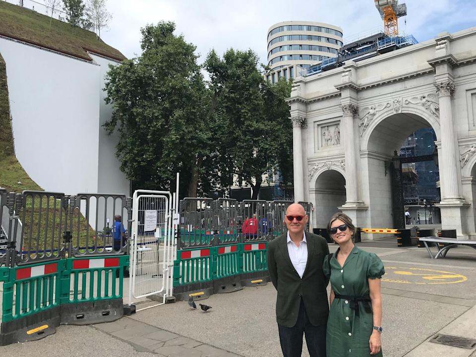 Chris Choa and Sarah Elson stand close to Marble Arch and its neighbouring mound (Rory Sullivan)