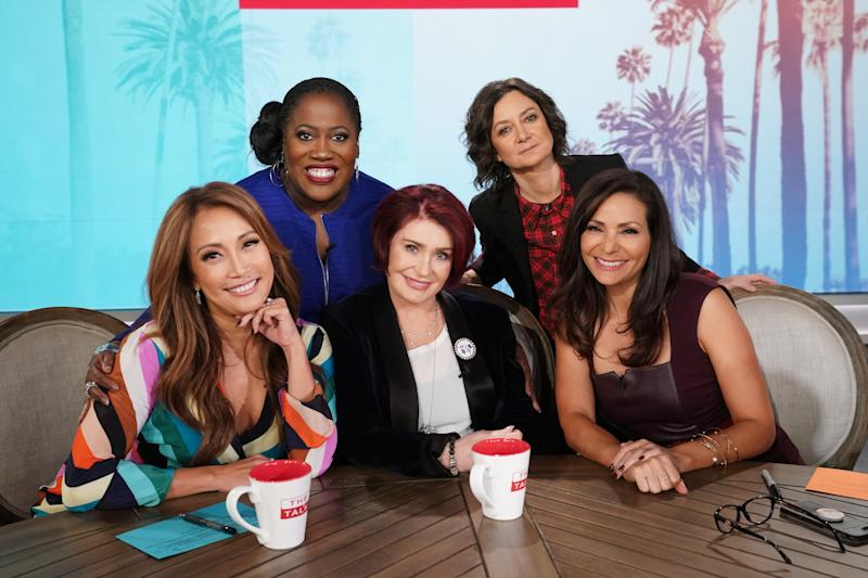 "elevision personality Carrie Ann Inaba and actress Constance Marie guest co-host on ""The Talk,"" Wednesday, November 21, 2018 on the CBS Television Network. From left, Sheryl Underwood, Carrie Ann Inaba, Sharon Osbourne, actress Constance Marie and Sara Gilbert, shown. (Photo by Monty Brinton/CBS via Getty Images)"