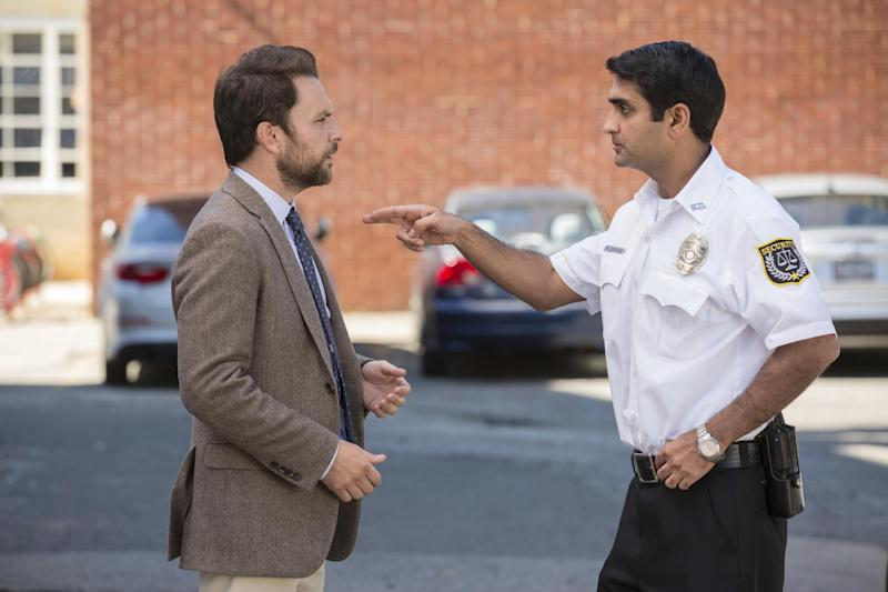 "This image released by Warner Bros. Pictures shows Charlie Day, left, and Kumail Nanjiani in a scene from ""Fist Fight."" (Bob Mahoney/Warner Bros. Pictures via AP)"