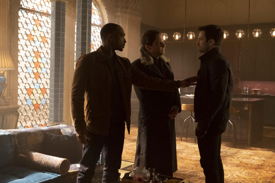 (L-R): Falcon/Sam Wilson (Anthony Mackie), Zemo (Daniel Brühl) and Winter Soldier/Bucky Barnes (Sebastian Stan) in Marvel Studios' THE FALCON AND THE WINTER SOLDIER exclusively on Disney+. Photo by Chuck Zlotnick. ©Marvel Studios 2021. All Rights Reserved.