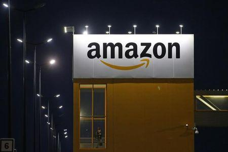 The logo of Amazon is seen at the company logistics center in Lauwin-Planque, northern France