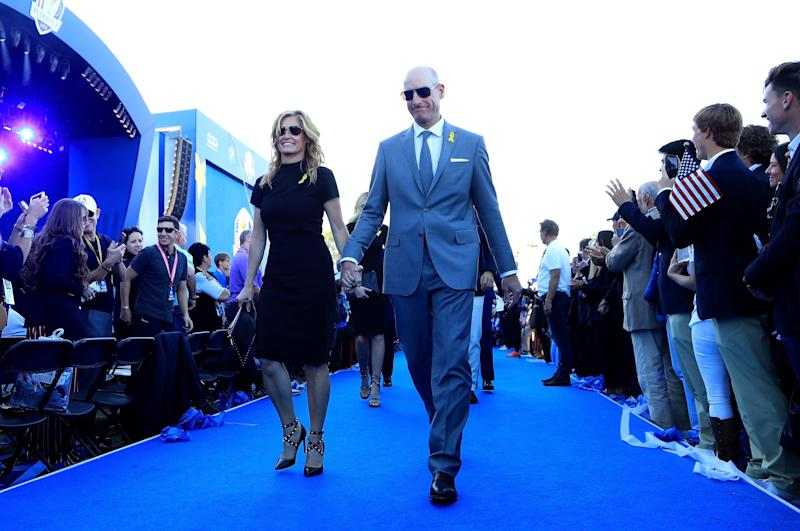 Furyk and wife, Tabitha, depart after opening ceremony for the 2018 Ryder Cup at Le Golf National outside Paris.