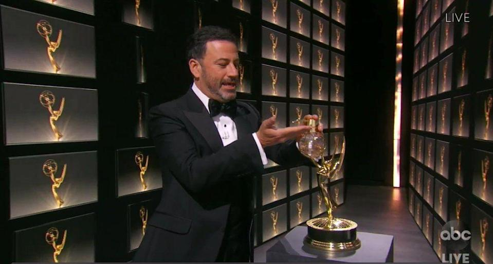 <p>Production turned an Emmy award in a very fancy hand sanitizer dispenser. I don't <em>not</em> want one. </p>