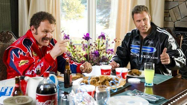 John C. Reilly and Will Ferrell in 'Talladega Nights,' one of the films included in Sony's initial 'Clean Version' library