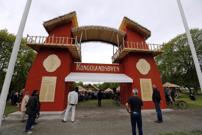 "Guests attend the opening of the ""Congo Village"" in Oslo"