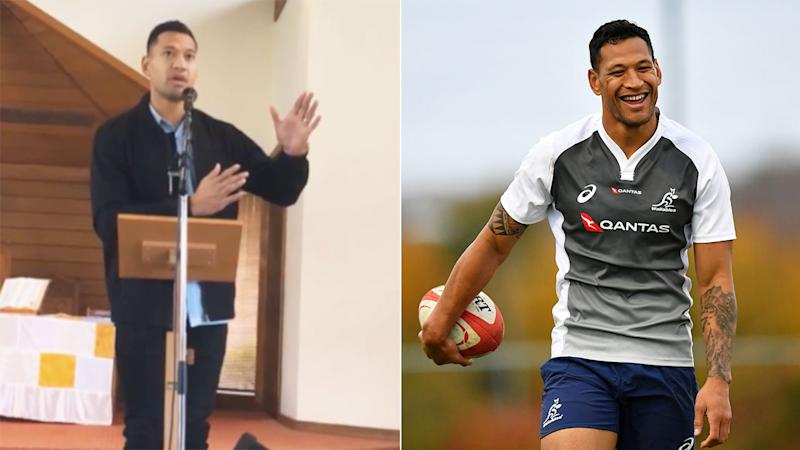 Israel Folau has criticised homosexuals in a new church sermon. Pic: