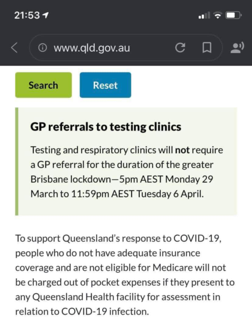 A screenshot from the QLD Health website