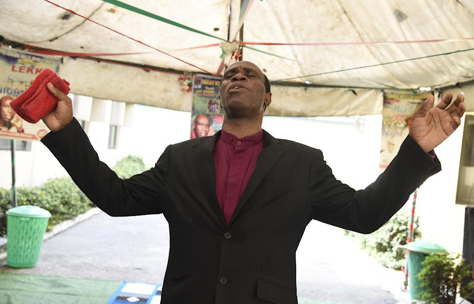 Pastor Taribo West preaches in his church in Lagos, on January 12, 2020 (AFP via Getty Images)