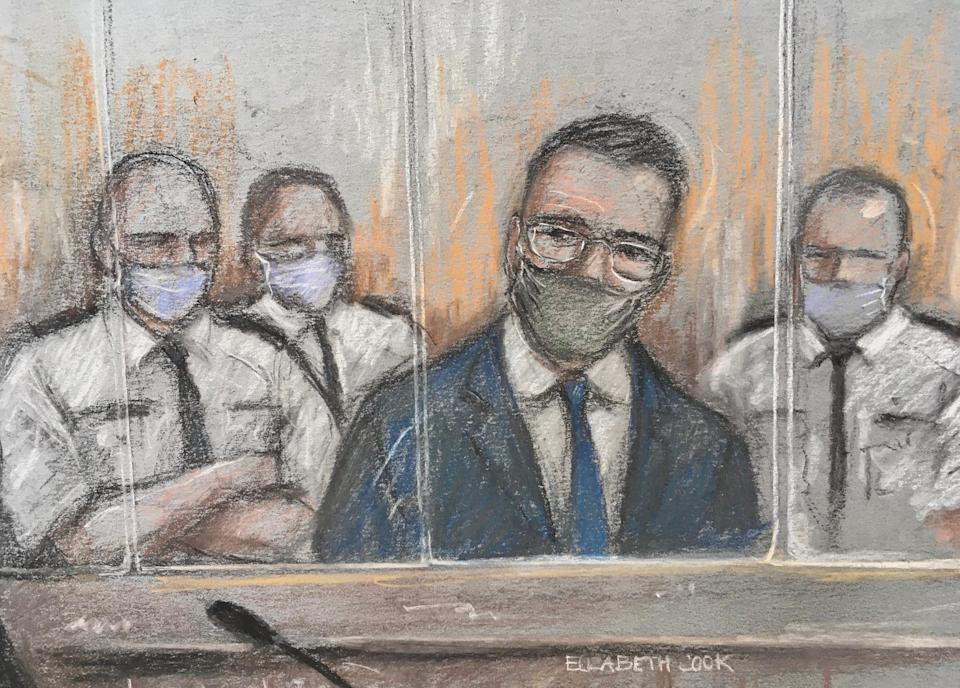 File court artist sketch by Elizabeth Cook of Pawel Relowicz (2nd right) appearing at Sheffield Crown Court. Pawel Relowicz has been found guilty at Sheffield Crown Court of raping and murdering Hull University student Libby Squire. Issue date: Thursday February 11, 2021.