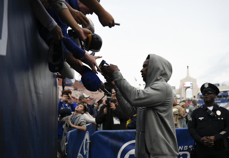 Todd Gurley will gladly cash in his fantasy fame to help his charity of choice. (AP)
