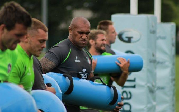 Leicester Tigers players, including new signing Nemani Nadolo, get to grips with aqua bags during a fitness session - Leicester Tigers