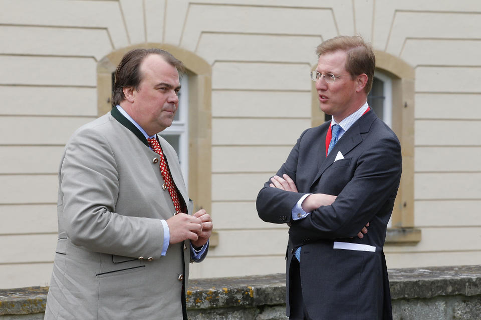 LANGENBURG, GERMANY - MAY 27:  Phillipp Fuerst zu Hohenlohe-Langenburg (L) and Erbprinz Bernhard von Baden (R) attend the visit of Prince Charles, Prince of Wales at Schloss Langenburg on May 27, 2013 in Langenburg, Germany.  (Photo by Thomas Niedermueller/Getty Images)