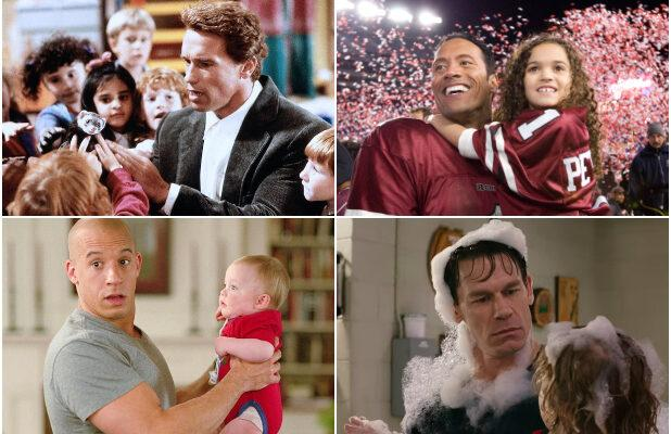 10 Tough Guys Babysitting Kids in Movies, From 'Kindergarten Cop' to 'Playing With Fire' (Photos)