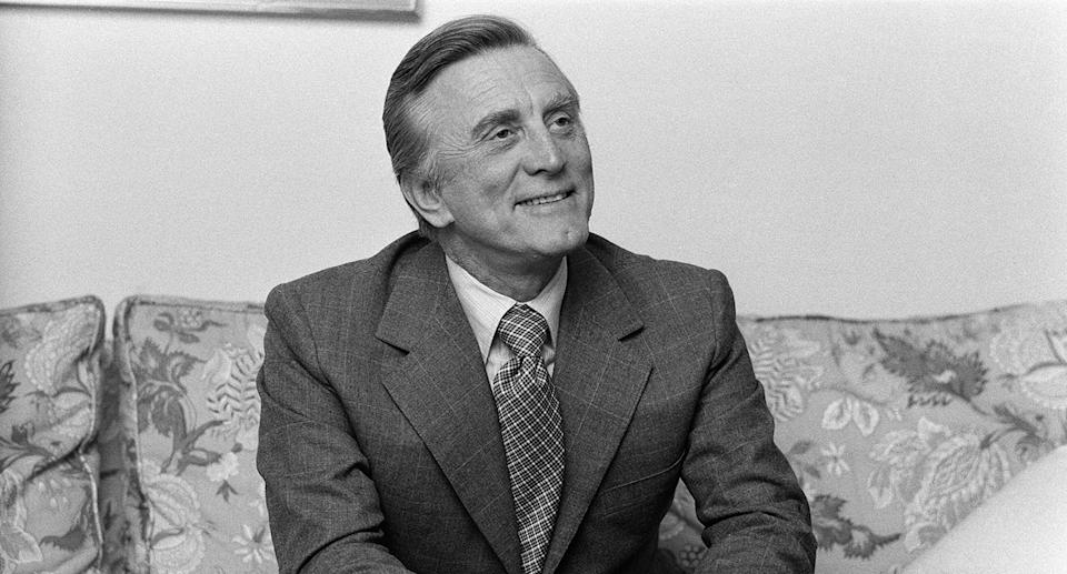 """One of the last surviving stars of the Golden Age of Hollywood <a href=""""https://uk.movies.yahoo.com/tagged/kirk-douglas/"""" data-ylk=""""slk:Kirk Douglas"""" class=""""link rapid-noclick-resp"""">Kirk Douglas</a> died at 103 in February. The <em>Spartacus</em> actor's career had spanned seven decades and he'd received three Academy Awards nominations across his body of work. (Photo by Kent Gavin/Mirrorpix/Getty Images)"""