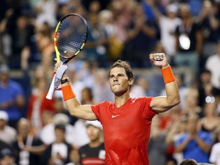 Aug 8, 2018; Toronto, Ontario, Canada; Rafael Nadal (ESP) celebrates a win over Benoit Paire (not pictured) in the Rogers Cup tennis tournament at Aviva Centre. John E. Sokolowski-USA TODAY Sports