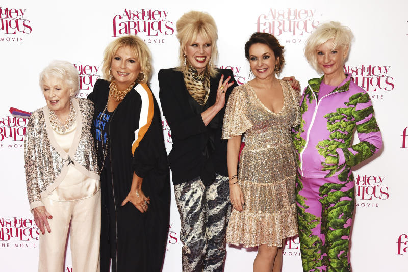 "LONDON, ENGLAND - JUNE 29: (L-R) June Whitfield, Jennifer Saunders, Joanna Lumley, Julia Sawalha and Jane Horrocks attend the World Premiere of ""Absolutely Fabulous: The Movie"" at Odeon Leicester Square on June 29, 2016 in London, England. (Photo by Dave J Hogan/Dave J Hogan/Getty Images)"