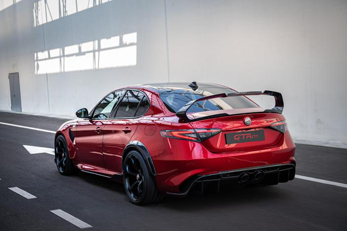 The <em>appasionatos</em> at Italian automaker Alfa Romeo found a way to squeeze more fun out of their delightfully bombastic Giulia Quadrofoglio, adding more power; less weight; and a giant, turgid rear wing. And, if you want even more passion, you can order a racetrack-ready version without rear seats.