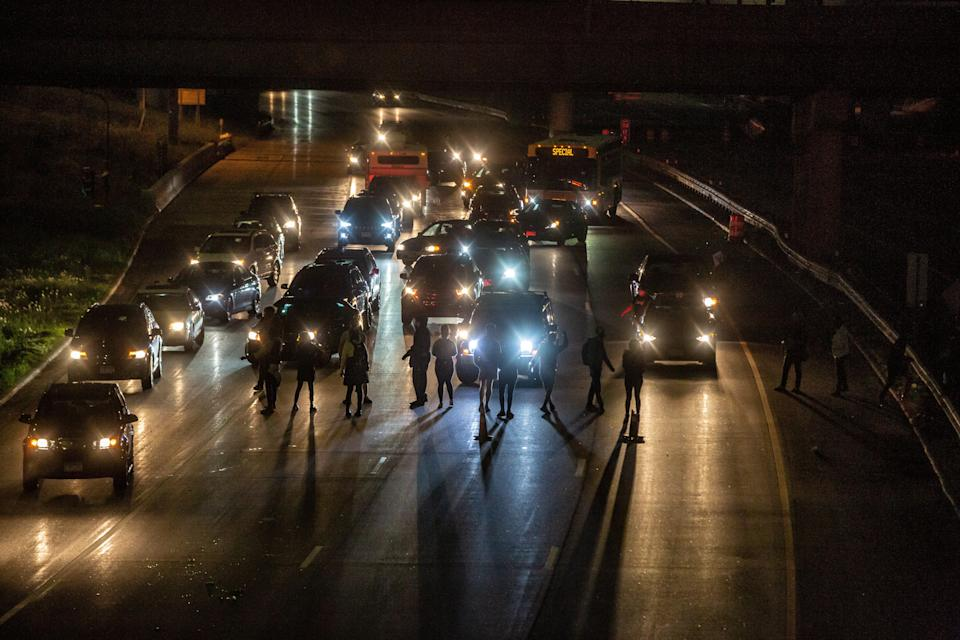 Protesters move onto the interstate to shut down I35W in Minneapolis on May 29, 2020.