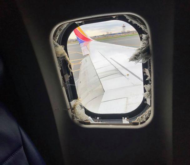 PHOTO: A blown out window taken from inside the Southwest Airlines plane that made an emergency landing at the Philadelphia airport, April 17, 2018. (Marty Martinez)