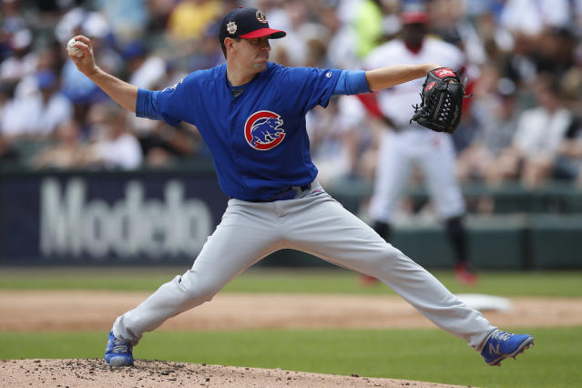 Chicago Cubs' Kyle Hendricks pitches against the Chicago White Sox during the first inning of a baseball game Sunday, July 7, 2019, in Chicago. (AP Photo/Jim Young)