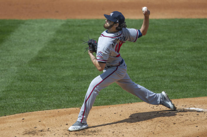Atlanta Braves starting pitcher Ian Anderson throws during the first inning of a baseball game against the Philadelphia Phillies, Sunday, April 4, 2021, in Philadelphia. (AP Photo/Laurence Kesterson)